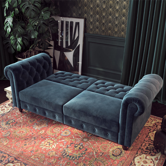 Felix Chesterfield Velvet Upholstered Sofa Bed In Blue_2