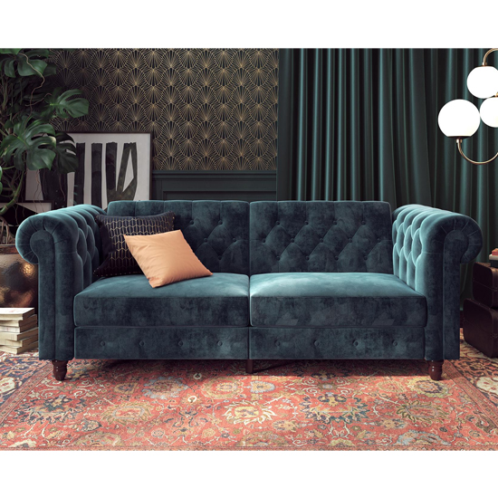 Felix Chesterfield Velvet Upholstered Sofa Bed In Blue_3