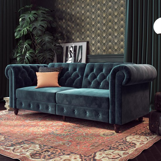 Felix Chesterfield Velvet Upholstered Sofa Bed In Blue_1