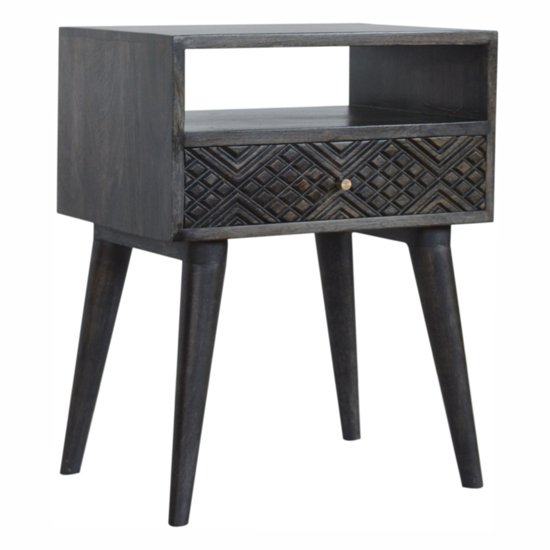 View Felix wooden bedside cabinet in ash black with 1 drawer