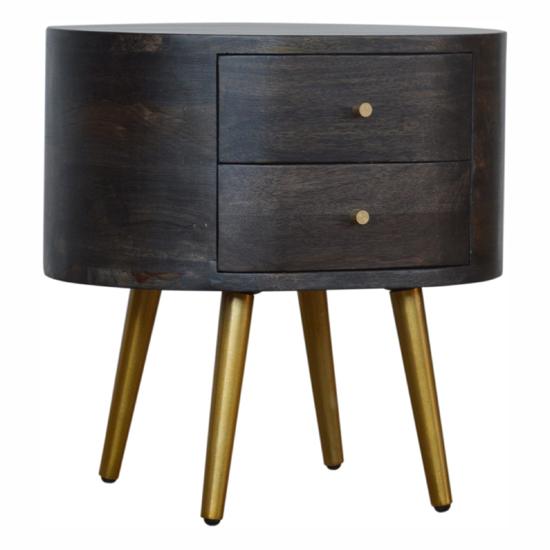 View Felix wooden bedside cabinet in ash black with brass legs