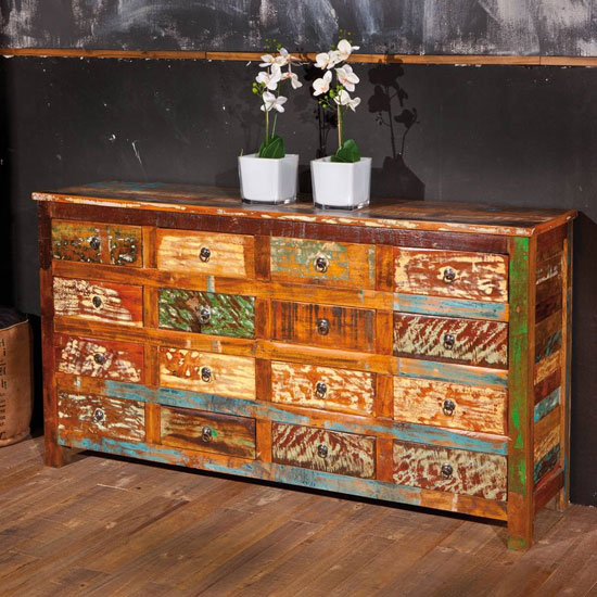 Felizes Wooden Chest of Drawers In Multicolor With 16 Drawers