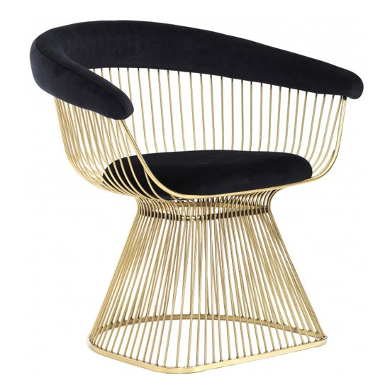 Fenda Velvet Armchair In Black With Gold Steel Legs_1