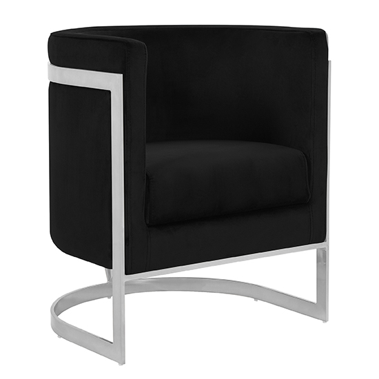 Fenda Velvet Armchair In Black With Silver Stainless Steel Legs