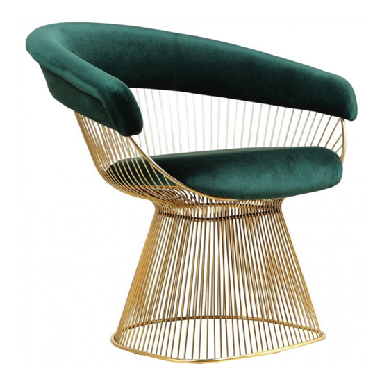 Fenda Velvet Armchair In Green With Gold Steel Legs