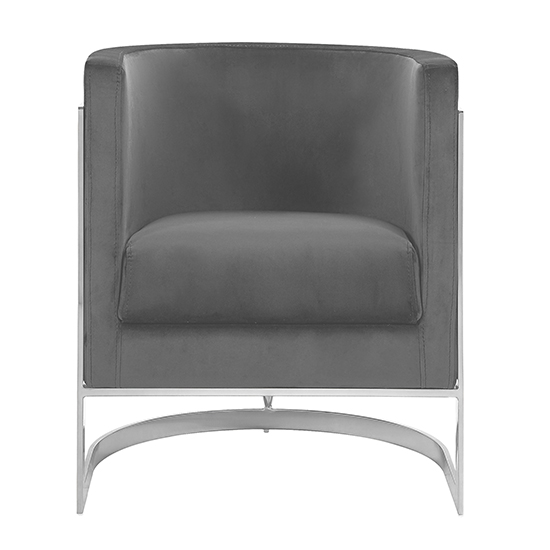 Fenda Velvet Armchair In Grey With Silver Stainless Steel Legs_2
