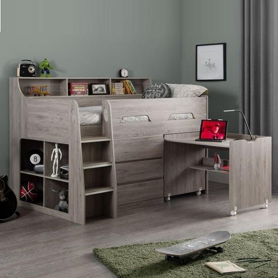 View Fenton midsleeper children bed in grey oak with storage and desk