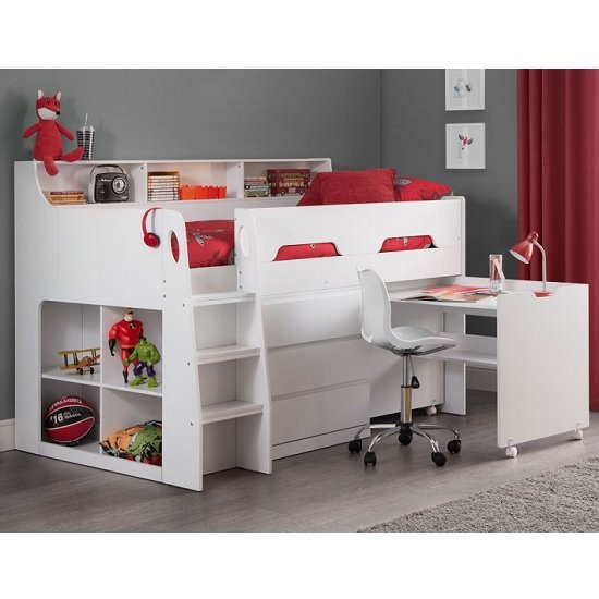 Fenton Midsleeper Children Bed In White With Storage And Desk