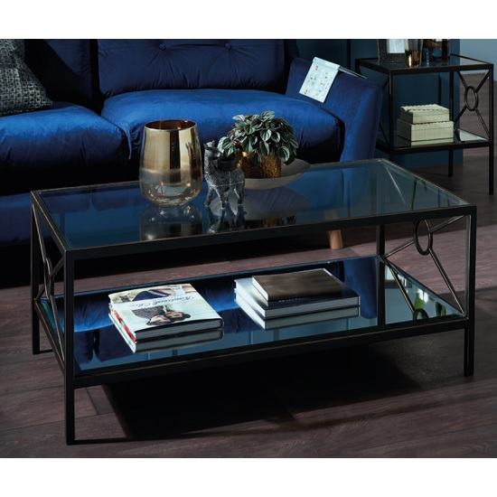 Fenwick Glass Coffee Table In Clear With Brown Metal Frame