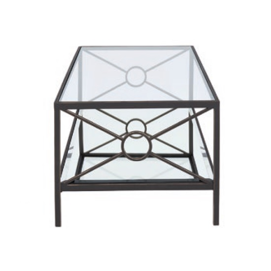 Fenwick Glass Coffee Table In Clear With Brown Metal Frame_2