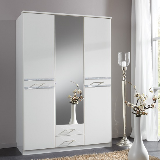 Ferito Mirror Wardrobe In Alpine White With Crystals And 3 Doors