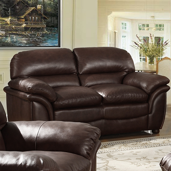 Fernando Full Bonded Leather 2 Seater Sofa In Brown_1