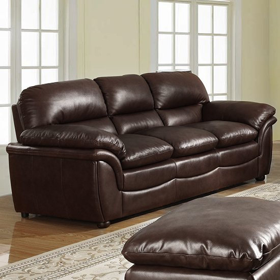 Fernando Full Bonded Leather 3 Seater Sofa In Brown_1