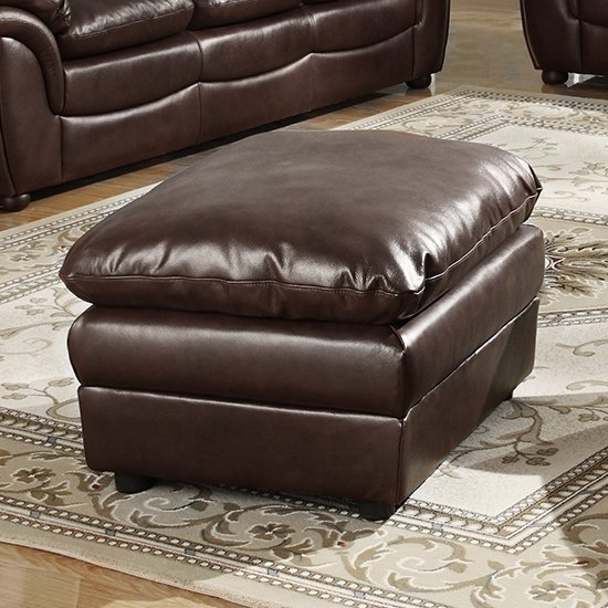 Fernando Full Bonded Leather Sofa Stool In Brown