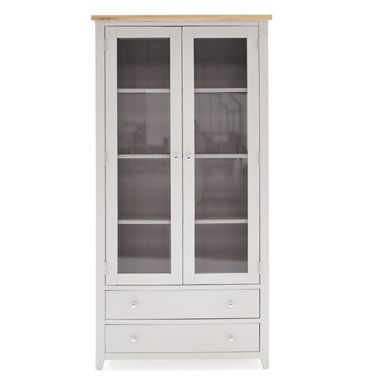 Ferndale 2 Doors 2 Drawers Display Cabinet In Grey With Oak Top