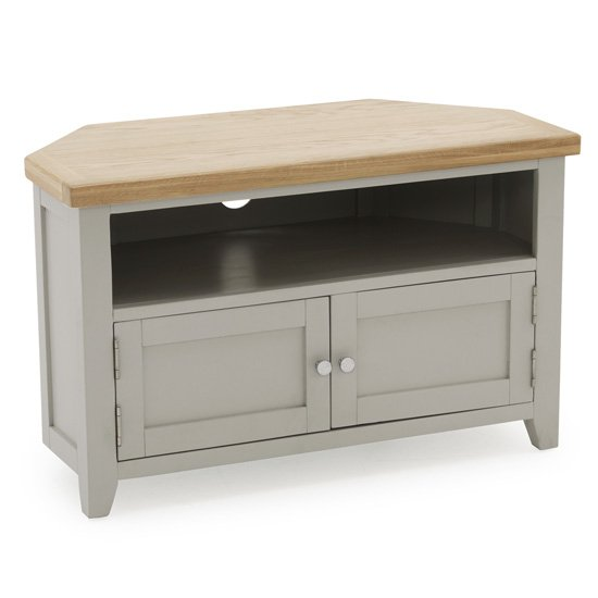 Ferndale Corner Wooden TV Stand In Grey With Oak Top_2