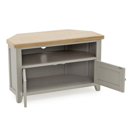 Ferndale Corner Wooden TV Stand In Grey With Oak Top_3