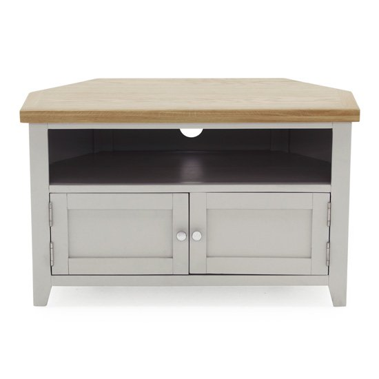 Ferndale Corner Wooden TV Stand In Grey With Oak Top