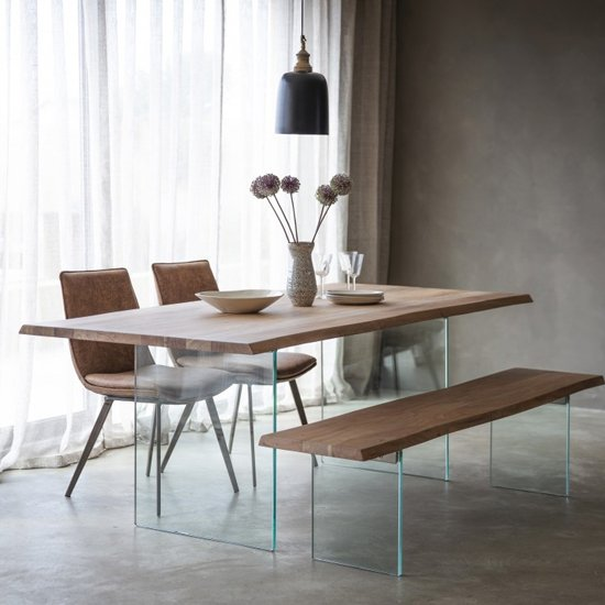 Ferndale Wooden Dining Table In Oak With Glass Base