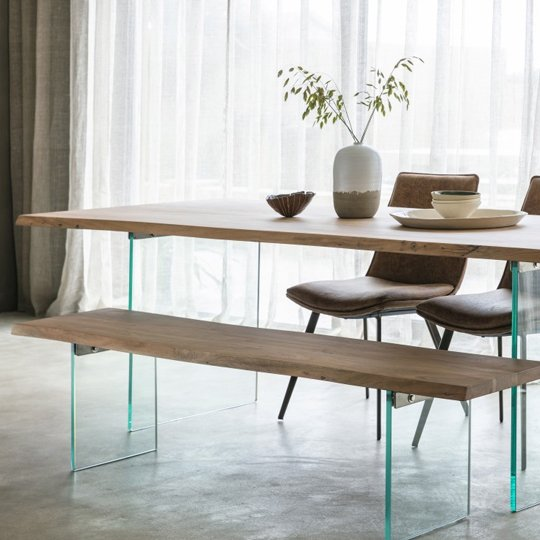 Ferndale Dining Table In Oak With Glass Stand