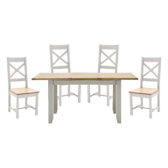 View Ferndale extending dining table with 4 cross back chairs