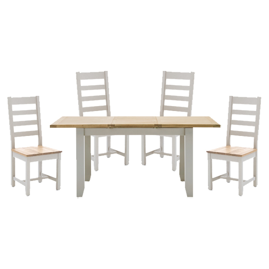 View Ferndale extending dining table with 4 ladder back chairs