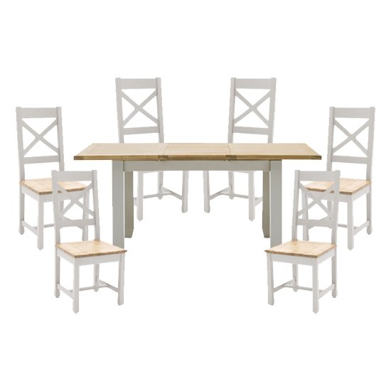 View Ferndale extending dining table with 6 cross back chairs