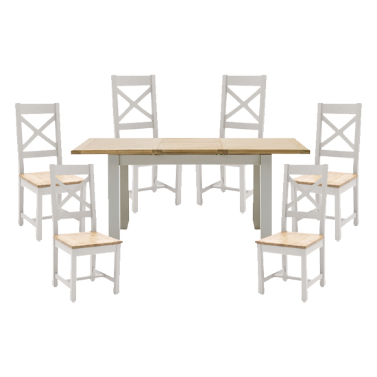 View Ferndale extending large dining table with 6 cross back chairs