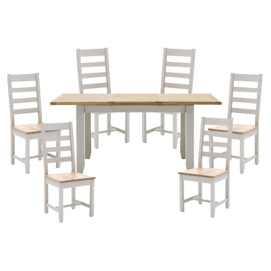 View Ferndale extending large dining table with 6 ladder back chairs