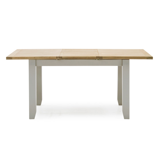 Ferndale Extending Wooden Dining Table In Grey With Oak Top_2