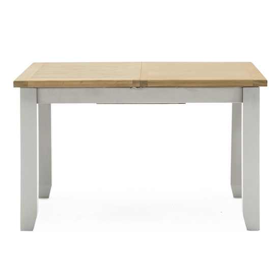 Ferndale Extending Wooden Dining Table In Grey With Oak Top_3