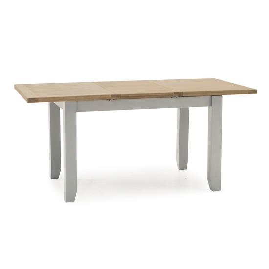 Ferndale Extending Wooden Dining Table In Grey With Oak Top