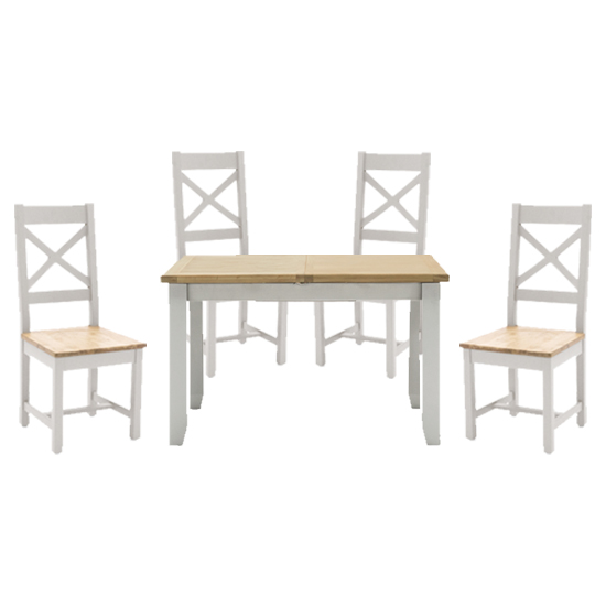 View Ferndale fixed dining table with 4 cross back chairs