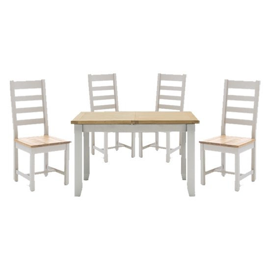 View Ferndale fixed dining table with 4 ladder back chairs