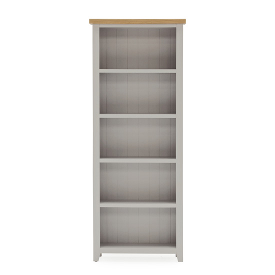 Ferndale Large Wooden 4 Shelves Bookcase In Grey With Oak Top_2