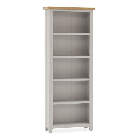 Ferndale Large Wooden 4 Shelves Bookcase In Grey With Oak Top