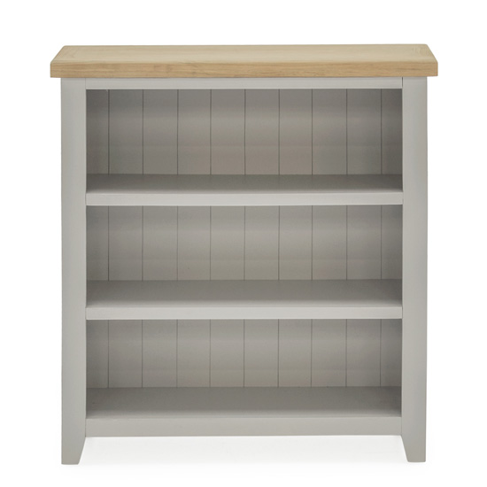 Ferndale Low Wooden 2 Shelves Bookcase In Grey With Oak Top_2