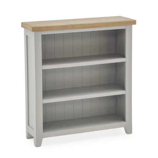Ferndale Low Wooden 2 Shelves Bookcase In Grey With Oak Top_1