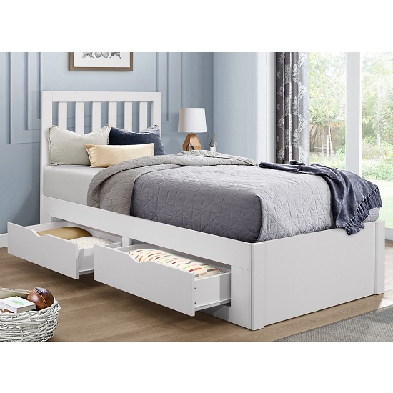 Ferndale Wooden Single Bed In White With 4 Drawers_2