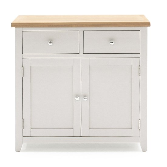 Ferndale Small Wooden Sideboard In Grey With Oak Top