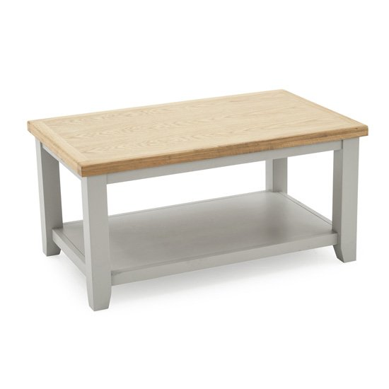 Ferndale Wooden Coffee Table In Grey With Oak Top
