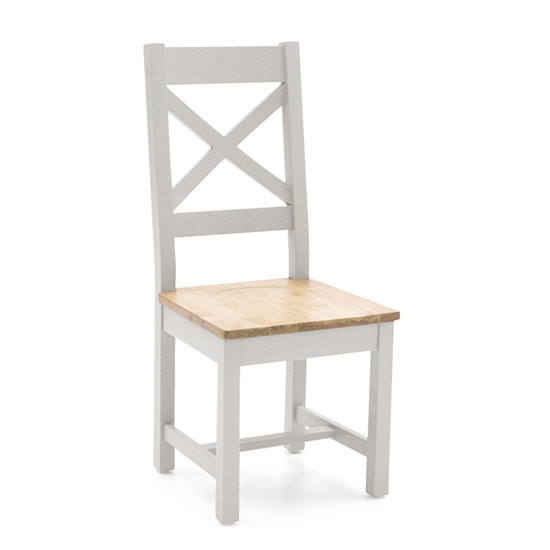 Ferndale Wooden Cross Back Dining Chair In Grey With Oak Seat