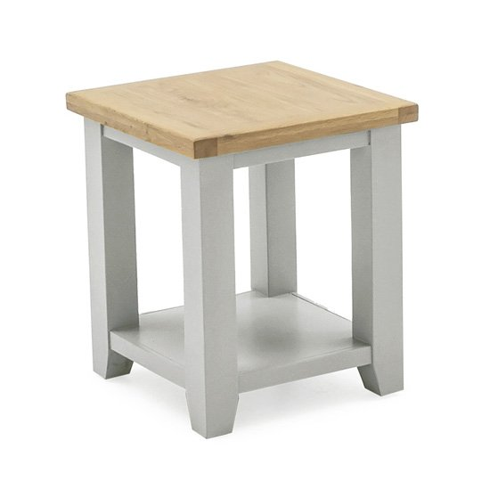 Ferndale Wooden Lamp Table In Grey With Oak Top