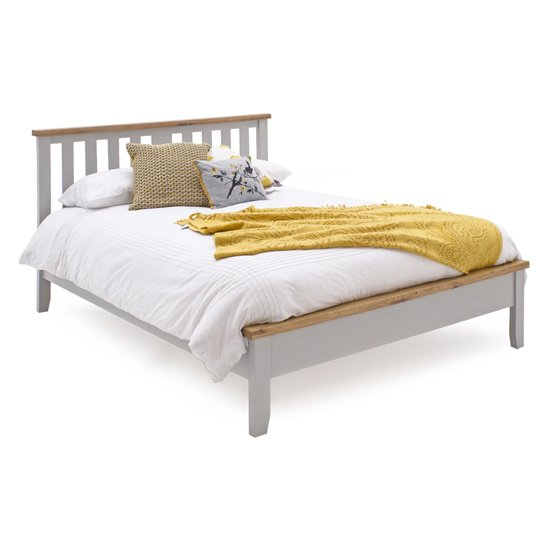 Ferndale Wooden Low Footboard Double Bed In Grey And Oak