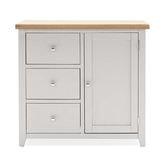 Ferndale Wooden Sideboard In Grey With Oak Top