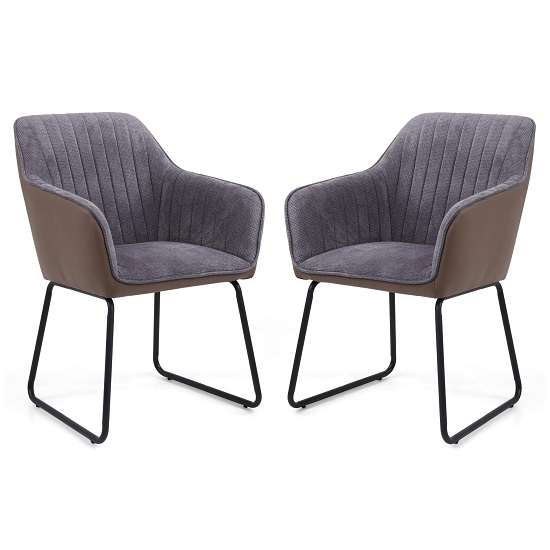 Ferrante Chennile Fabric Dining Chair In Grey Finish In A Pair