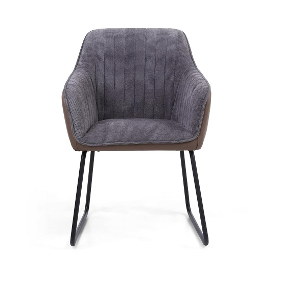 Ferrante Chennile Fabric Dining Chair In Grey Finish In A Pair_4