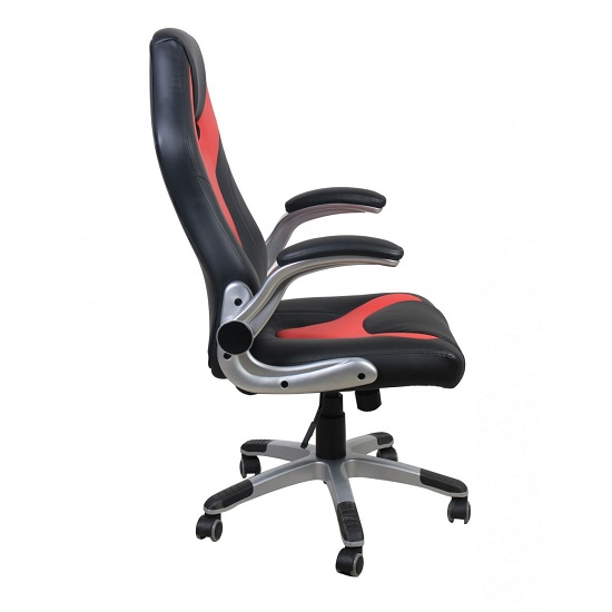 Ferry Stylish Faux Leather Office Chair In Red And Black_3