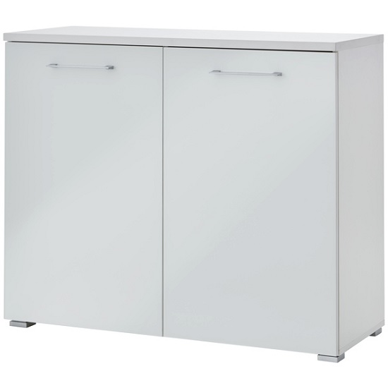 Feya Glass Compact Sideboard In White With 2 Doors