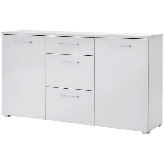 Feya Glass Sideboard In White With 2 Doors And 3 Drawers_1